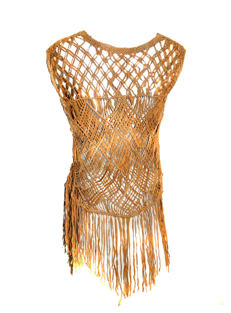 Hand Crafted Leather Macrame Knots Weave Women Top with Fringes , Women Jacket - CrabRocks, LeatherfashionOnline  - 2