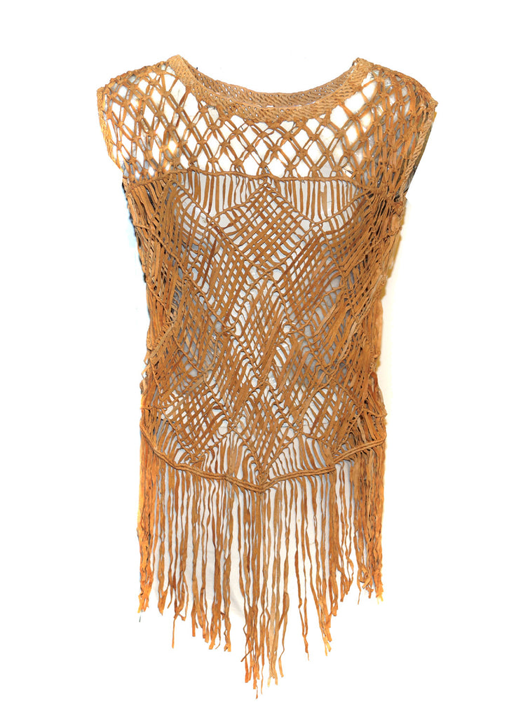 Hand Crafted Leather Macrame Knots Weave Women Top with Fringes XS / LEATHER / Tan, Women Jacket - CrabRocks, LeatherfashionOnline  - 1