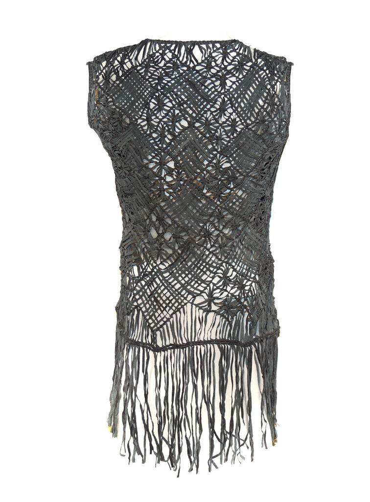 Designed Leather Macrame Weaved Women Gilet with Fringes , Women Jacket - CrabRocks, LeatherfashionOnline  - 2