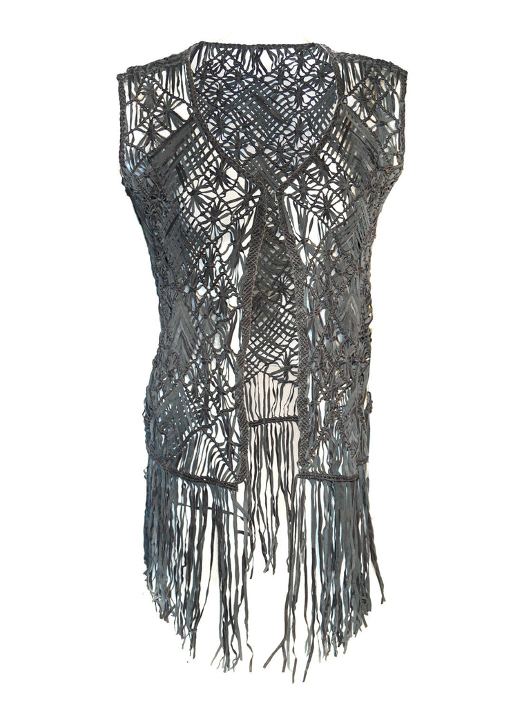 Designed Leather Macrame Weaved Women Gilet with Fringes XS / LEATHER / Black, Women Jacket - CrabRocks, LeatherfashionOnline  - 1