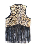 Designed Leather Hair-On Leopard Print Branded New Women Gilet with Fringes , Women Jacket - CrabRocks, LeatherfashionOnline  - 2