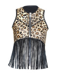 Designed Leather Hair-On Leopard Print Branded New Women Gilet with Fringes XS / LEATHER / Black, Women Jacket - CrabRocks, LeatherfashionOnline  - 1