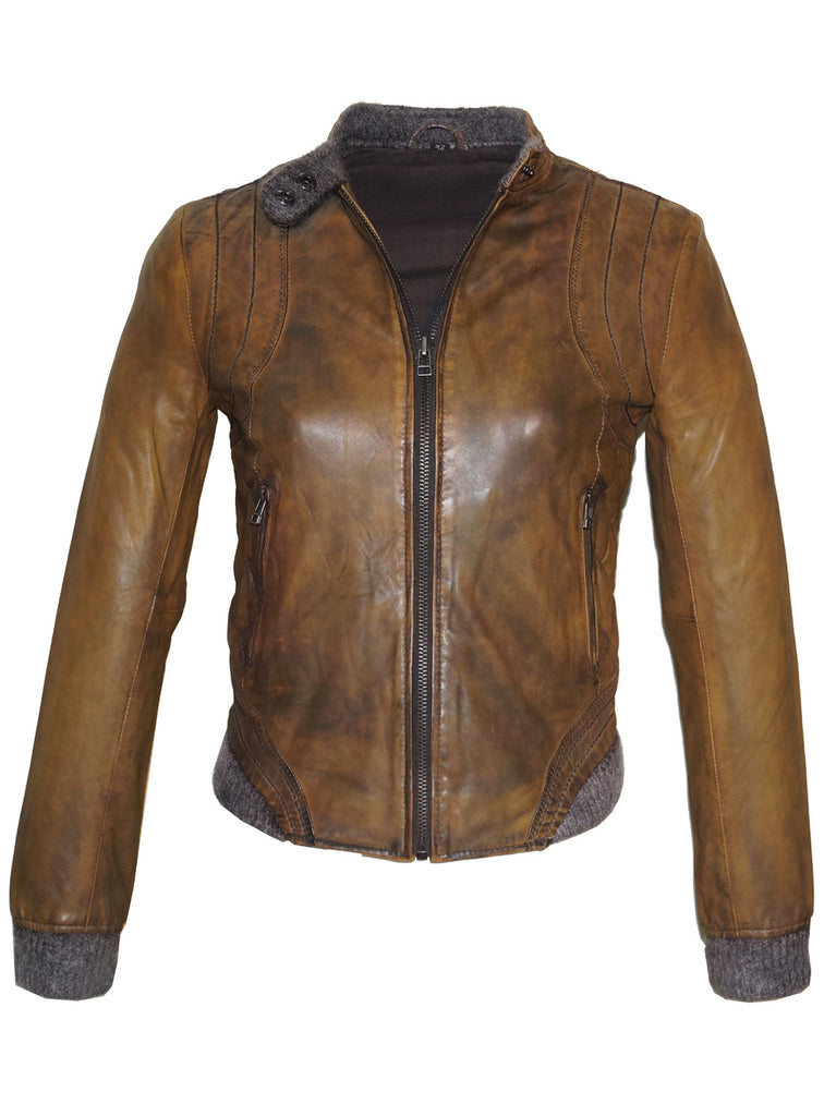 Leather Washed Vintage Bomber Blouson Women Jacket