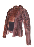 Women Washed Vintage Leather Jacket with Abstract Design at Shoulder