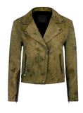 Women Marbled Leather Biker Jacket in Earthy Brown XS / LEATHER / Tan, Women Jacket - CrabRocks, LeatherfashionOnline  - 1