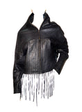 Designer Baggy Leather Women Jacket w/ hand crafted hand weaving style