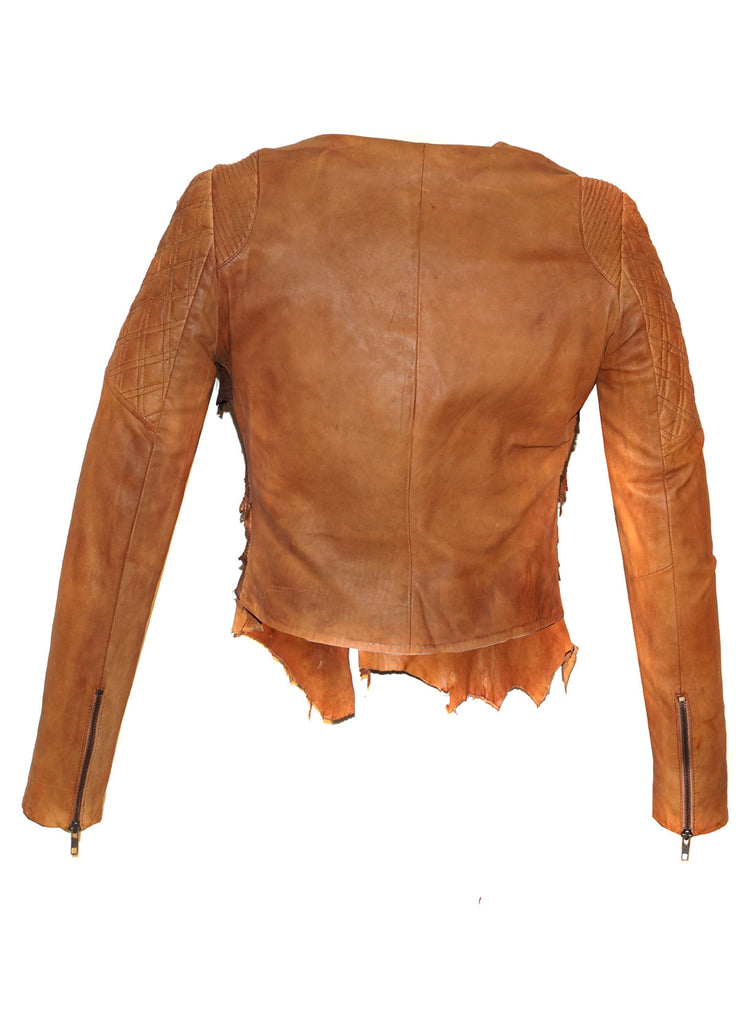 Women Lamb Leather Abstract Handcrafted Dip Dyed Biker Jacket , Women Jacket - CrabRocks, LeatherfashionOnline  - 3