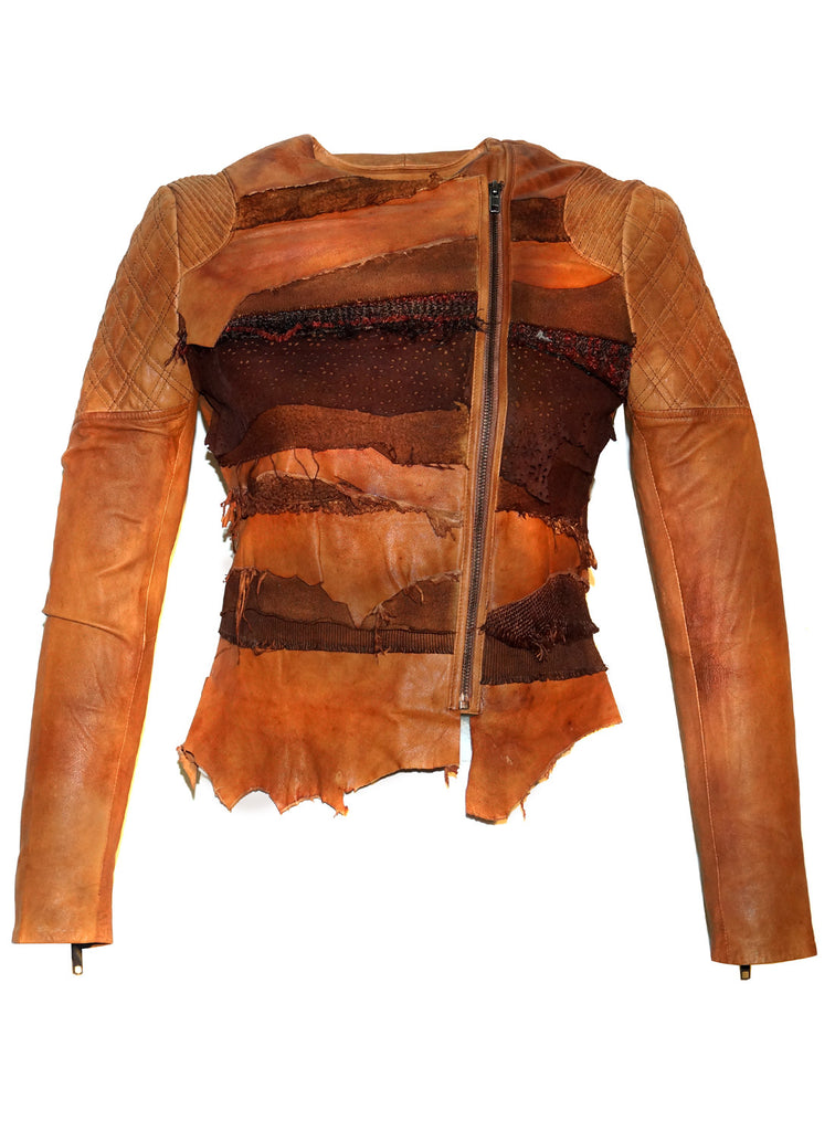 Women Lamb Leather Abstract Handcrafted Dip Dyed Biker Jacket XS / LEATHER / Dip Dyed Tan, Women Jacket - CrabRocks, LeatherfashionOnline  - 1