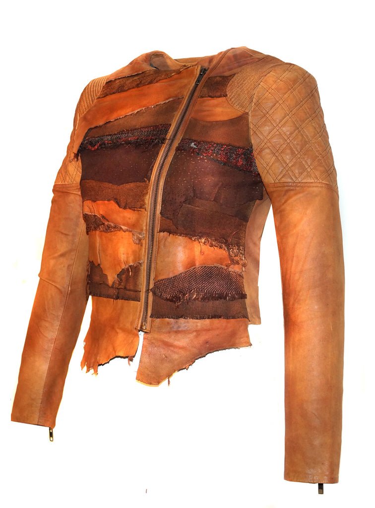 Women Lamb Leather Abstract Handcrafted Dip Dyed Biker Jacket , Women Jacket - CrabRocks, LeatherfashionOnline  - 2