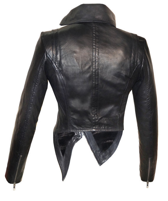 Designer Hand Made Women Leather Asymmetrical Soft Leather Jacket with High Neck Collars , Women Jacket - CrabRocks, LeatherfashionOnline  - 3