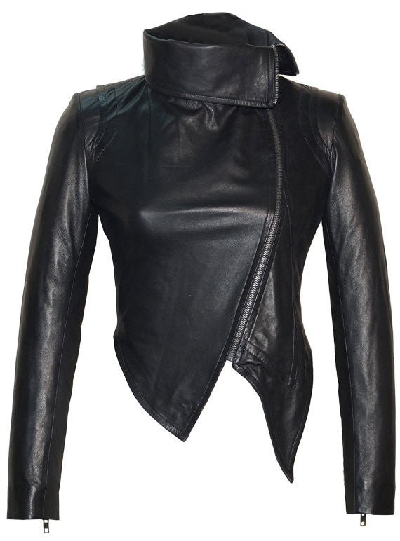 Designer Hand Made Women Leather Asymmetrical Soft Leather Jacket with High Neck Collars Black / XS / LEATHER, Women Jacket - CrabRocks, LeatherfashionOnline  - 1
