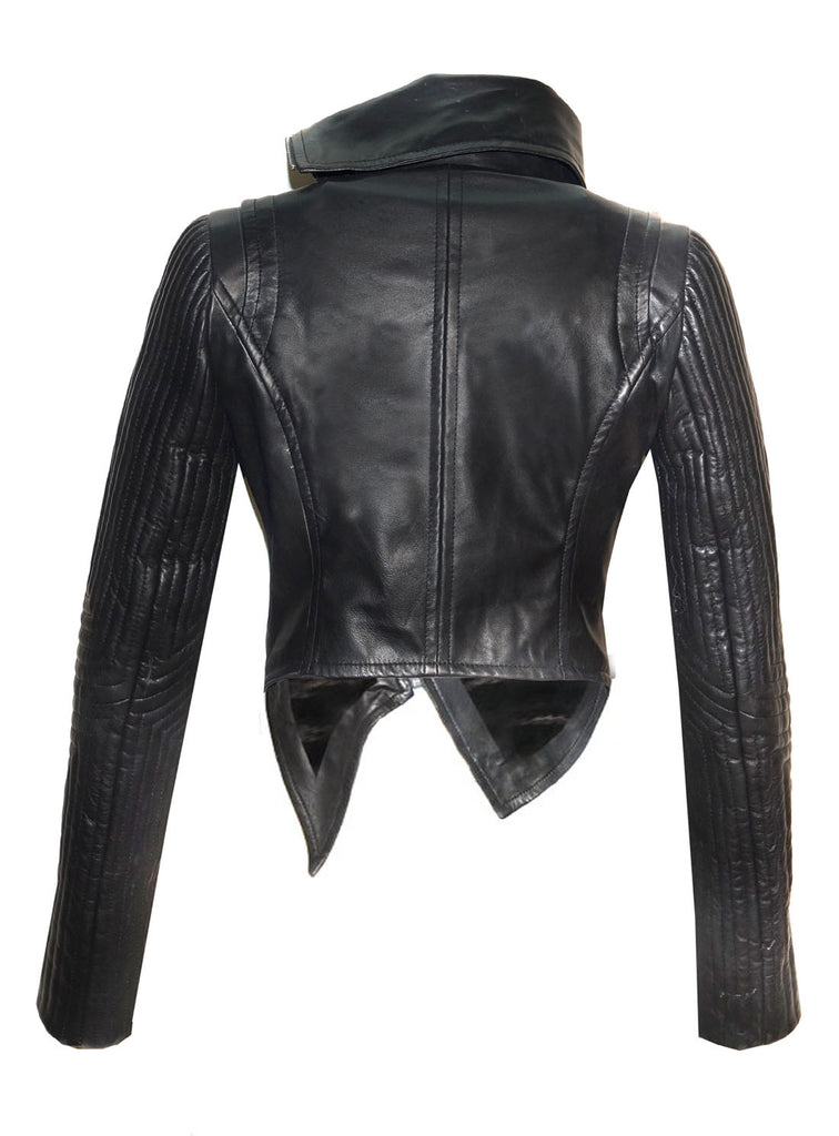CrabRocks Women Leather Asymmetrical Soft Leather Jacket with High Neck Collars and Multi Quilted Sleeve , Women Jacket - CrabRocks, LeatherfashionOnline  - 2