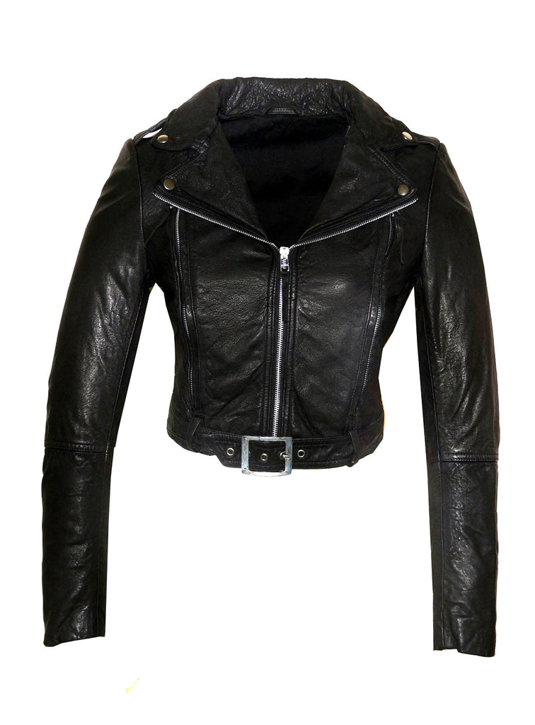 Women's Short Cropp Jacket with Bubbled Leather Washed Waxed effects