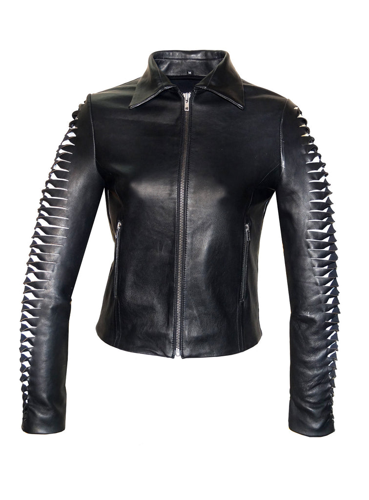 Leather  Women Jacket with Designer Cut Work  Stylish Sleeve