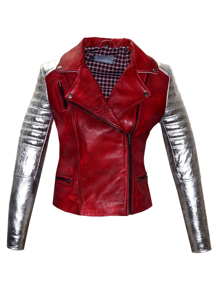 CrabRocks Leather Christmas Vintage Look Motorcycle Moto Biker Women Jacket with Metallic Silver Padded Sleeve Christmas Red/ Silver / XS / LEATHER, Women Jacket - CrabRocks, LeatherfashionOnline  - 2