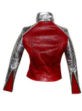 CrabRocks Leather Christmas Vintage Look Motorcycle Moto Biker Women Jacket with Metallic Silver Padded Sleeve , Women Jacket - CrabRocks, LeatherfashionOnline  - 5