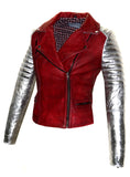 CrabRocks Leather Christmas Vintage Look Motorcycle Moto Biker Women Jacket with Metallic Silver Padded Sleeve , Women Jacket - CrabRocks, LeatherfashionOnline  - 1