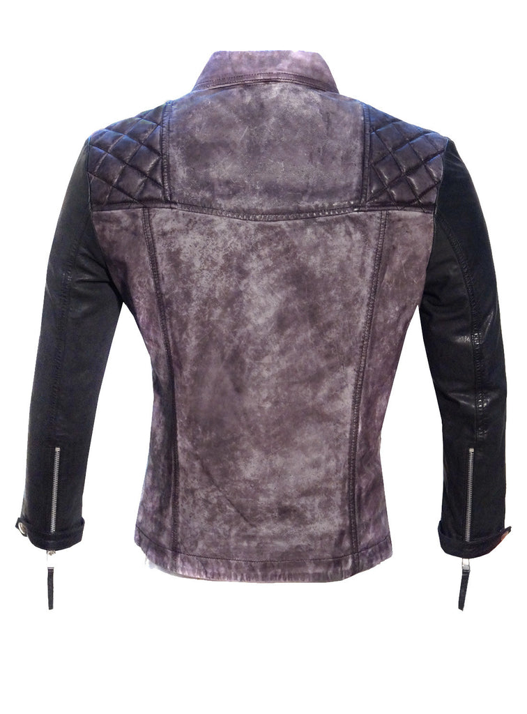 Women Leather Washed Vintage Motorcycle Jacket with 3/4 Sleeve