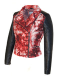 CrabRocks HandCrafted Christmas Special Red Batik Leather Motorcycle Biker Moto Women Jacket with Black Sleeve , Women Jacket - CrabRocks, LeatherfashionOnline  - 2