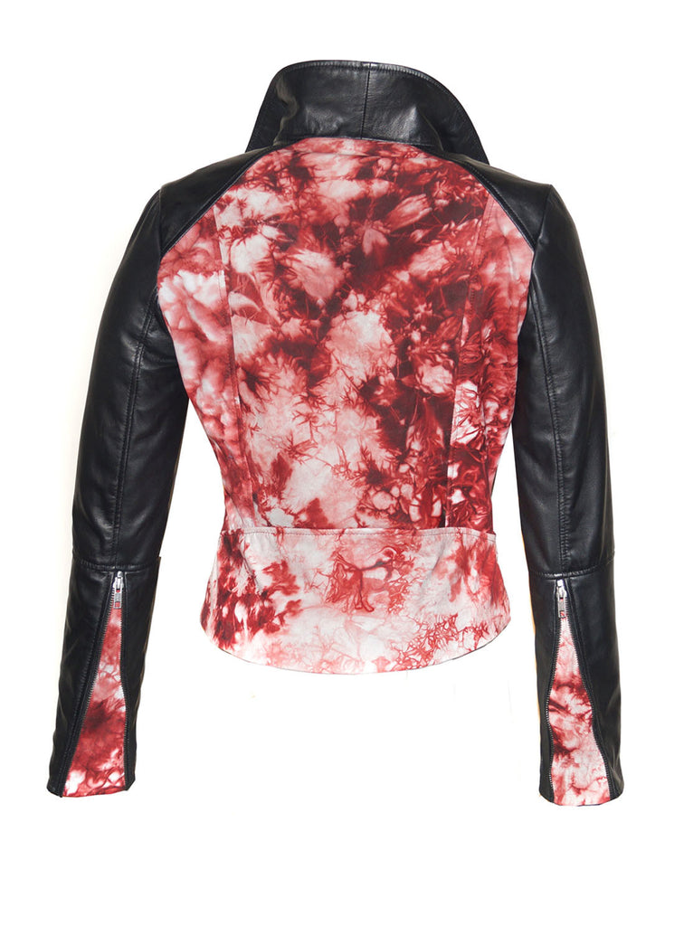 CrabRocks HandCrafted Christmas Special Red Batik Leather Motorcycle Biker Moto Women Jacket with Black Sleeve , Women Jacket - CrabRocks, LeatherfashionOnline  - 4