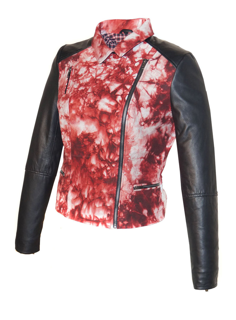 CrabRocks HandCrafted Christmas Special Red Batik Leather Motorcycle Biker Moto Women Jacket with Black Sleeve , Women Jacket - CrabRocks, LeatherfashionOnline  - 3