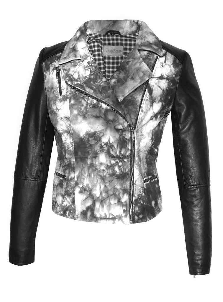 CrabRocks HandCrafted Christmas Special Red Batik Leather Motorcycle Biker Moto Women Jacket with Black Sleeve Black / XS / LEATHER, Women Jacket - CrabRocks, LeatherfashionOnline  - 6