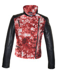 CrabRocks HandCrafted Christmas Special Red Batik Leather Motorcycle Biker Moto Women Jacket with Black Sleeve , Women Jacket - CrabRocks, LeatherfashionOnline  - 5