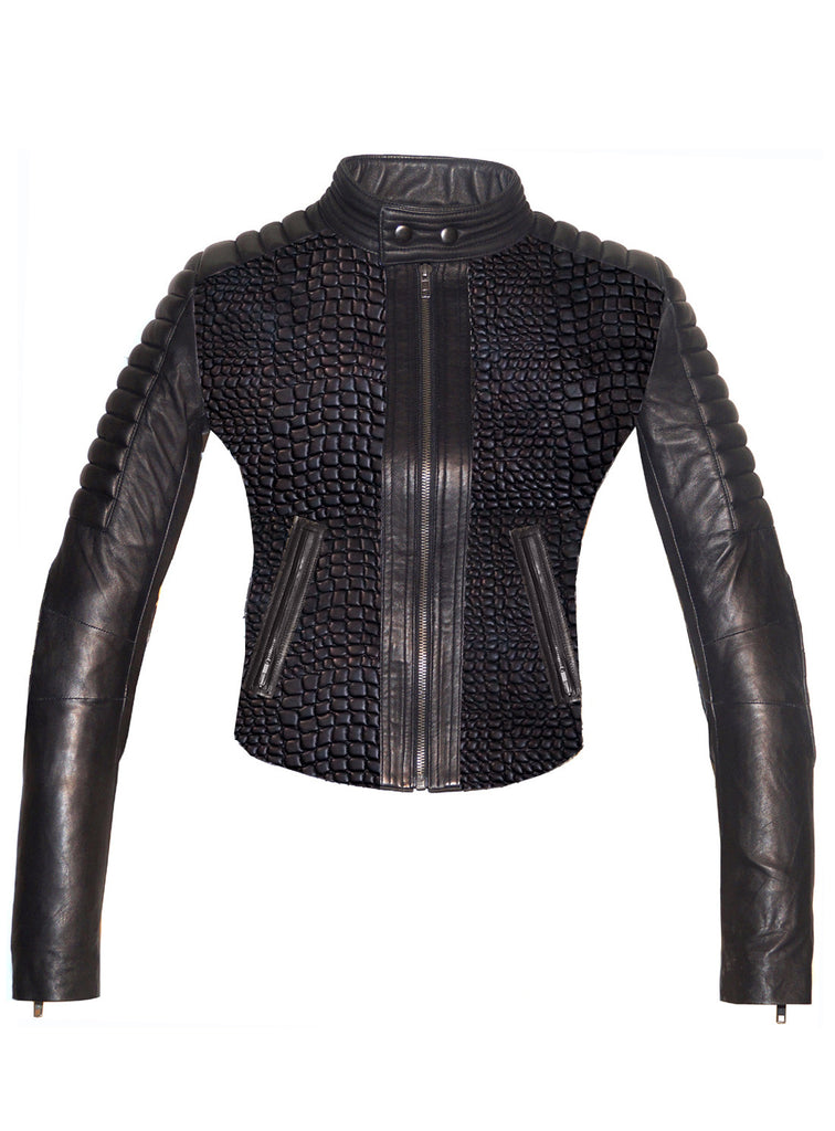 CrabRocks Hand Crafted Leather Croco Lamb Quilted Motorcycle Biker Women Jacket with sleeve padded XS / BLACK / LAMB LEATHER, Leather Jacket - Crabrocks, LeatherfashionOnline  - 1