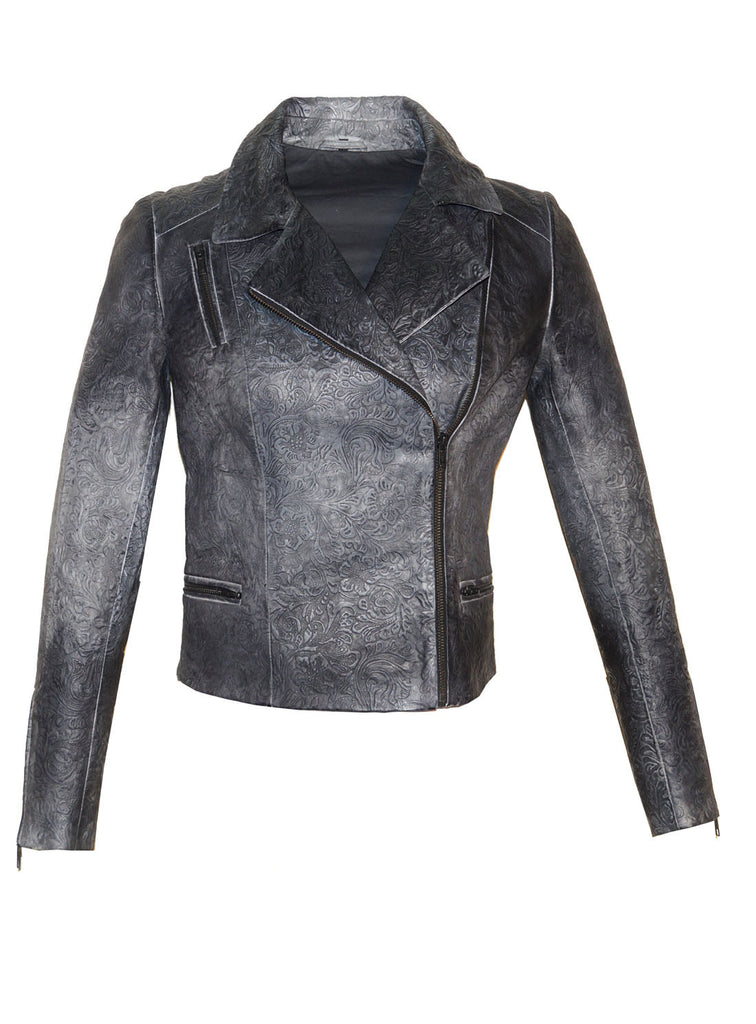 Women Motorcycle Biker Ombre Floral Printed Leather Jacket