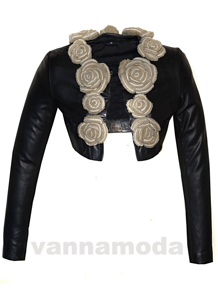 Hand Embroidered Fur Floral Short Bolero Designer Jacket