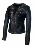 Leather Hand Crafted Designer Embroidered Classic Women Jacket