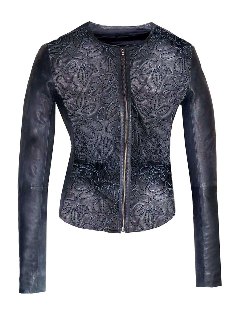 Leather Hand Embroidered with Pipes Floral Women Jacket