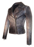 Women Motorcycle Biker Ombre Croco Printed Leather Jacket