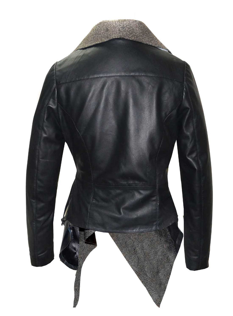 Leather Women Jacket with Asymmetrical Frilled Collar Long Coat