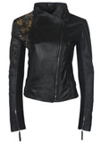 Leather Hand Embroidered Women Jacket with metal antique brass