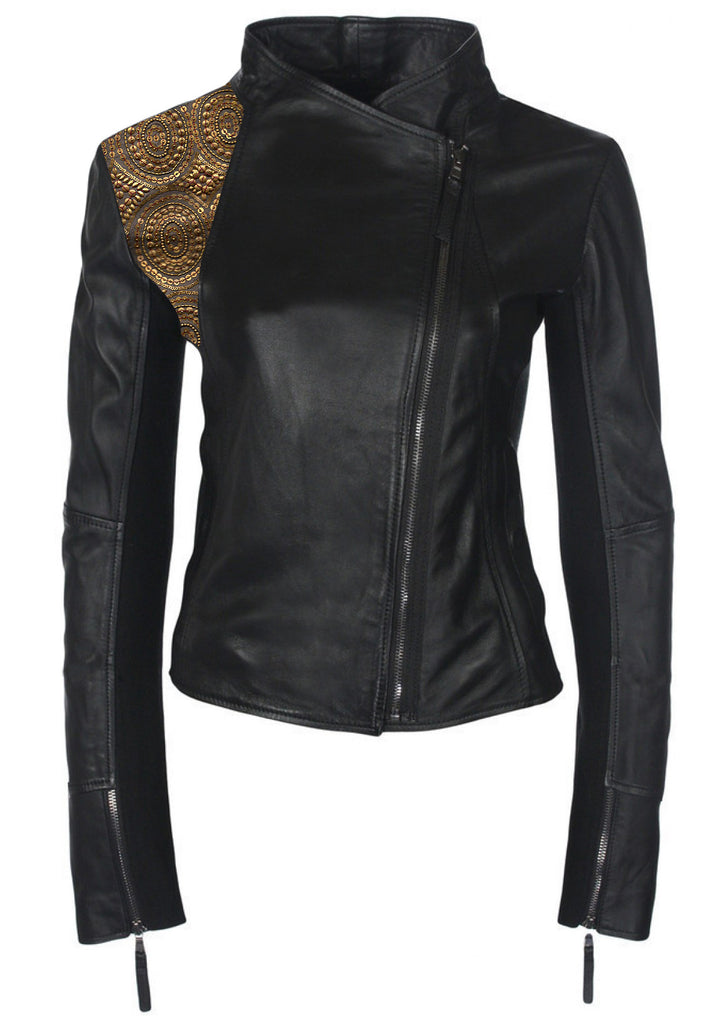 Leather Hand Crafted Designer rhinestone Embroidered Women Jacket
