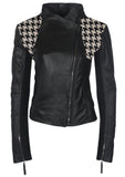 Leather Tweed Woven Designer Women Jacket