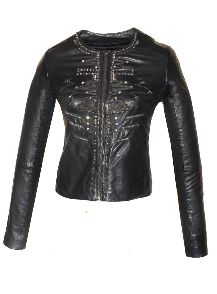 Leather Hand Crafted Designer Embroidered Elegant Women Jacket