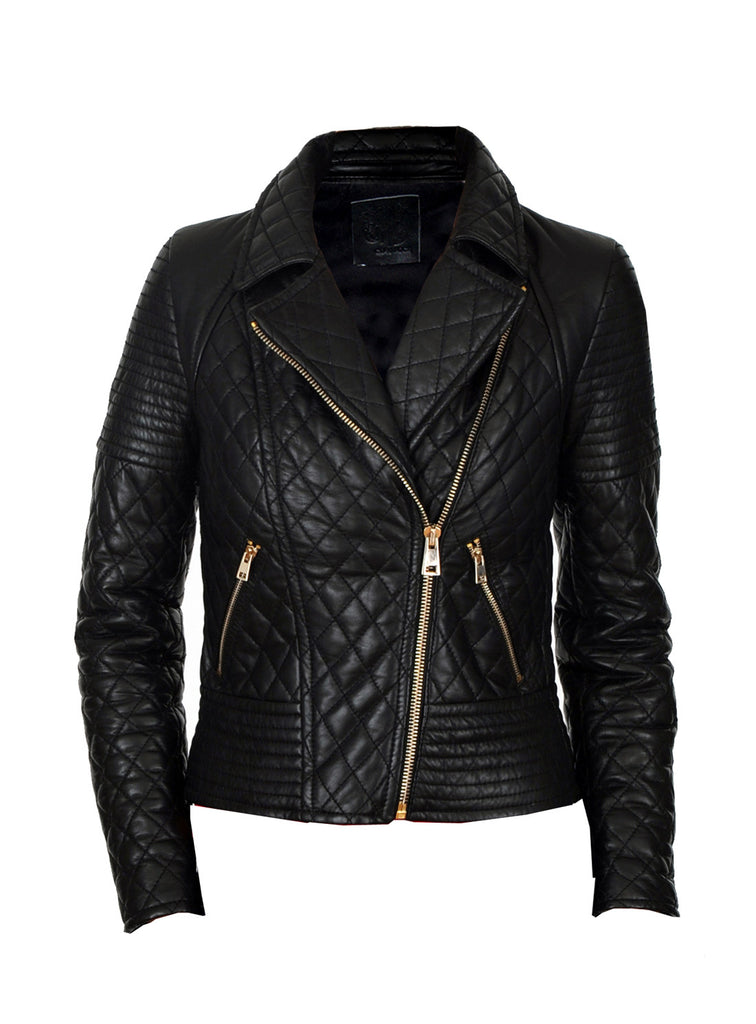 Women Leather Washed Vintage Quilted Jacket