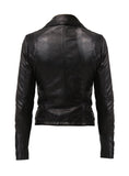 Women Leather Washed Vintage Motorcycle Biker Jacket with Lycra shoulders