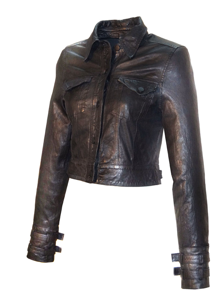 Leather Designer Washed Women Short Shirt Jacket