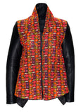 Ethnic Embroidery Waterfall Drape  Leather Women Jacket