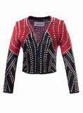 Leather Multi Studded Woman Jacket