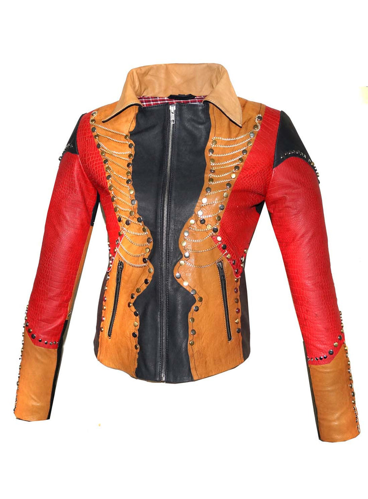 Leather Vintage Studded Women Jacket