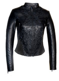 Women Abstract Beads Hand Embroidered Leather Jacket
