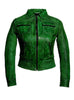 Women Washed Vintage Leather Short Jacket XS / LEATHER / Green, Women Jacket - CrabRocks, LeatherfashionOnline  - 1