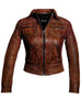 Women Washed Vintage Leather Short Jacket , Women Jacket - CrabRocks, LeatherfashionOnline  - 5