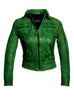 Women Washed Vintage Leather Short Jacket , Women Jacket - CrabRocks, LeatherfashionOnline  - 2