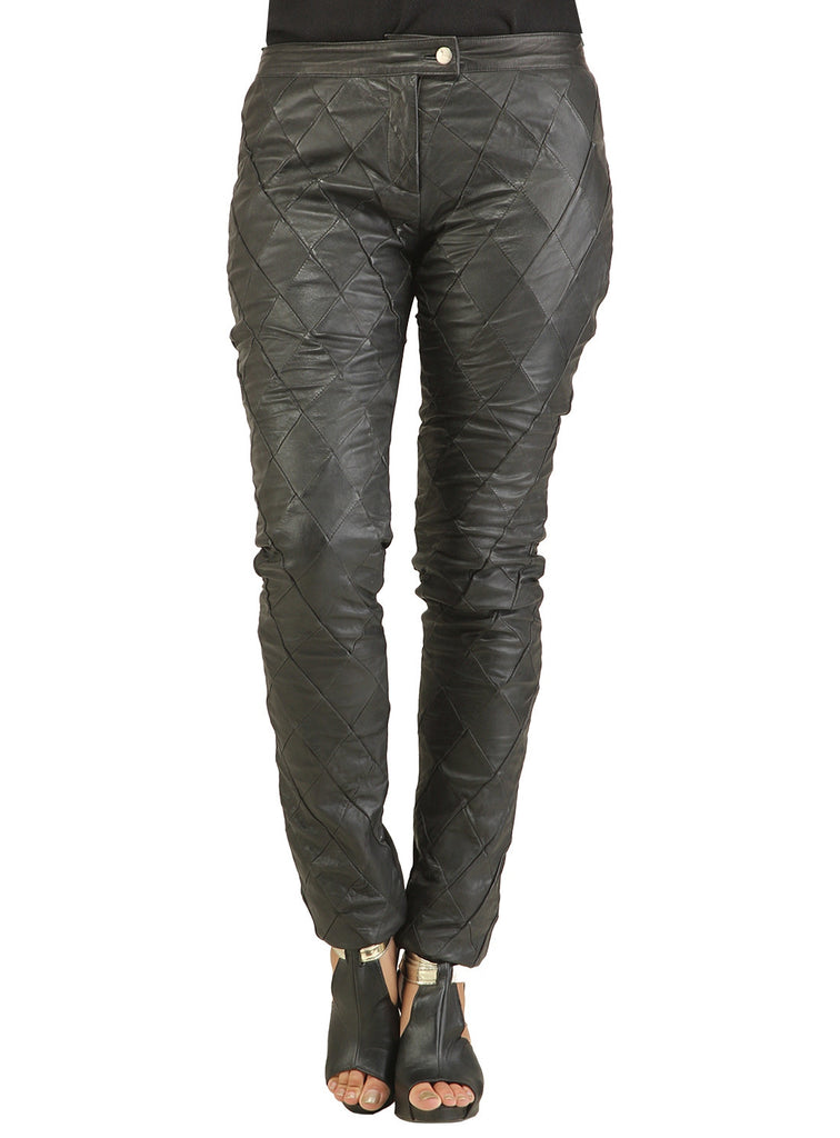 Ladies Designer Diamond Patch Leather Pant S / Black / Leather, Ladies leather Pant/Leggings - CrabRocks, LeatherfashionOnline  - 1