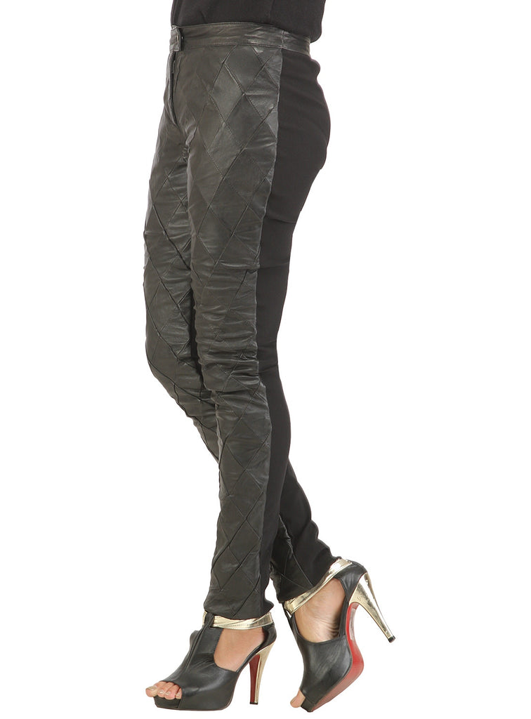 Ladies Designer Diamond Patch Leather Pant , Ladies leather Pant/Leggings - CrabRocks, LeatherfashionOnline  - 2